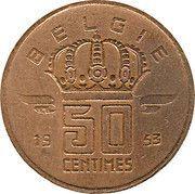 50 Centimes - Baudouin I (Dutch text; larger head) -  reverse