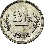 2 Francs (Allied Occupation Coinage) - Silver – reverse