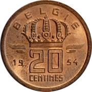 20 Centimes - Baudouin I (Dutch text) -  reverse
