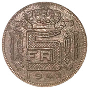 5 Francs - Léopold III (French text) -  reverse