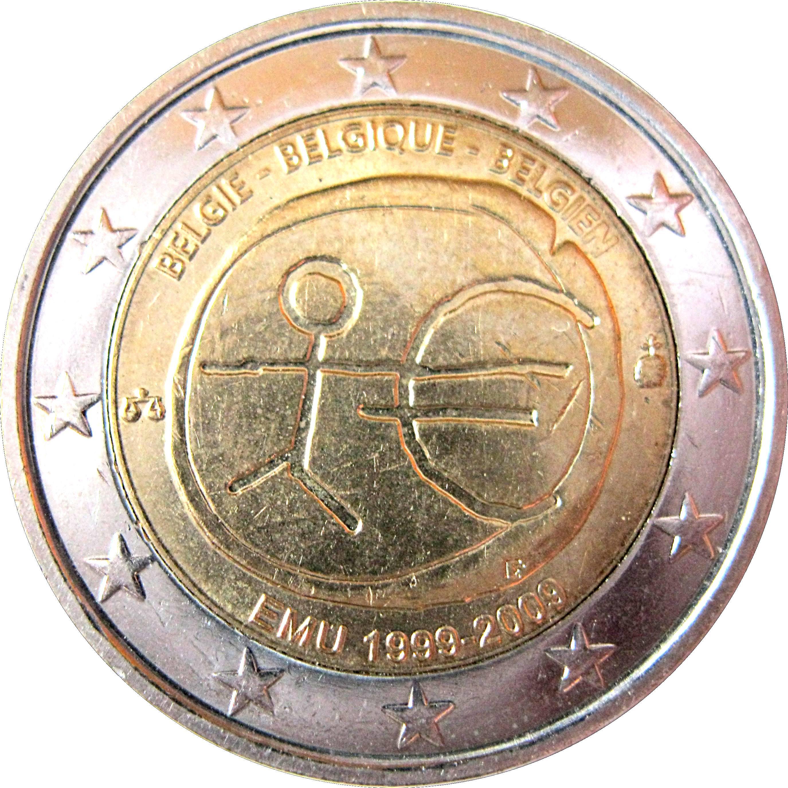 NETHERLAND 2 EURO coin 2009 10 Years EMU Birth of Euro UNC bimettalic 2 €