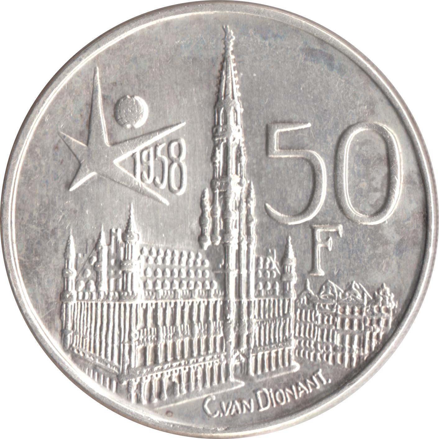 1958 Belgium World/'s Fair 50 Francs Brilliant Uncirculated Silver Coin