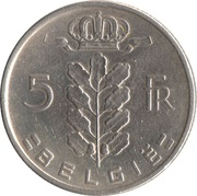 5 Francs - Baudouin I (Dutch text) -  reverse