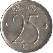 25 Centimes - Baudouin I (French text) -  reverse