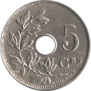 5 Centimes - Albert I (Dutch text) – reverse