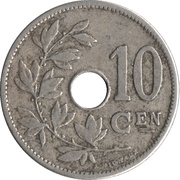 10 Centimes - Léopold II (Dutch text - Large date) – reverse