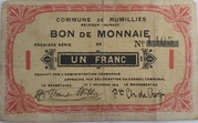 1 Franc - Rumillies – obverse