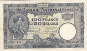 100 Franks or 20 Belgas – obverse