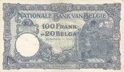 100 Franks or 20 Belgas – reverse