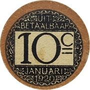 10 Centimes (Stad Gent) – reverse