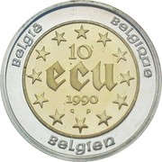 10 Écu - Baudouin I (60th Birthday of Baudouin I) – reverse