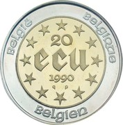20 Écu - Baudouin I (60th Birthday) – reverse