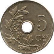 5 Centimes - Léopold II (Dutch text; large date) -  reverse