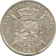 1 Franc - Léopold II (Dutch text) -  reverse