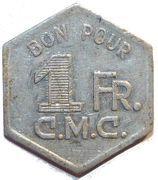 1 Franc - C.M.C. / M.H.K. – obverse