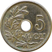5 Centimes - Léopold II (French text; large date) -  reverse