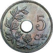 5 Centimes - Albert I (Dutch text) – reverse