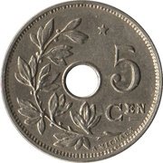 5 Centimes - Albert I (Dutch text; with star) – reverse