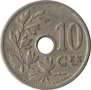 10 Centimes - Léopold II (Dutch text - Small date) -  reverse