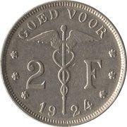 2 Francs - Albert I (dutch text) – reverse