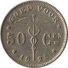 50 Centimes - Albert I (Dutch text) – reverse