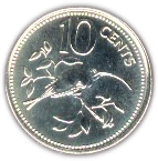10 Cents - Elizabeth II (Long-tailed Hermit; Silver Proof Issue) – reverse