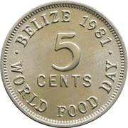 5 Cents - Elizabeth II (1st portrait; World Food Day) – reverse