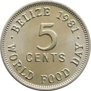 5 Cents - Elizabeth II (1st portrait; World Food Day) -  reverse