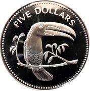 5 Dollars - Elizabeth II (Keel-billed Toucan) – reverse