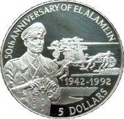5 Dollars - Elizabeth II (Erwin Rommel) – reverse