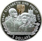 5 Dollars - Elizabeth II (Golden Wedding) – reverse