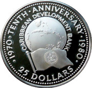 25 Dollars - Elizabeth II (Caribbean Development Bank) – reverse