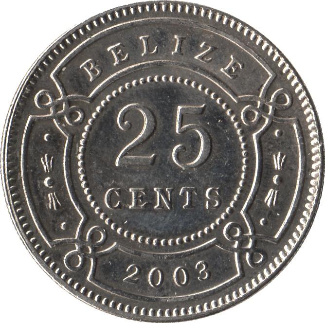 25 Cents Elizabeth Ii 1st Portrait Belize Numista