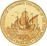 250 Dollars - Elizabeth II (Discovery of Americas) – reverse