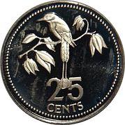 25 Cents - Elizabeth II (Blue-crowned Motmot) – reverse
