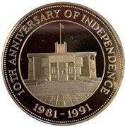10 Dollars - Elizabeth II (10th Anniversary of Independence) – reverse