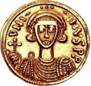 1 Solidus - Gisulf II / In the name of Justinian II, 705-711 (Rightside-up monogram) – obverse