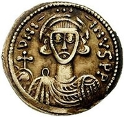 1 Solidus - Gisulf II / In the name of Justinian II, 705-711 (Upside-down monogram) – obverse