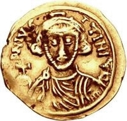 1 Tremissis - Romoald II / In the name of Justinian II, 705-711 – obverse