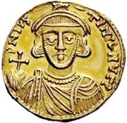 1 Solidus - Romoald II / In the name of Justinian II, 705-711 (Three steps) – obverse