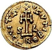 1 Tremissis - Liutprand & Scaunipergas / In the name of Justinian II, 705-711 – reverse