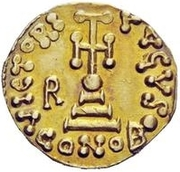1 Solidus - Romoald II / In the name of Justinian II, 705-711 (Three steps) – reverse