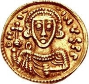 1 Tremissis - Liutprand / In the name of Justinian II, 705-711 (Monogram to the right) – obverse