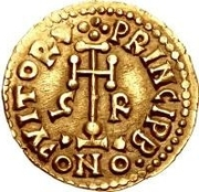 1 Tremissis - Grimoald III (Cross with circle near base) – reverse
