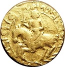 """1 Dinar """"Gold 20-ratti""""- in the name of Muizz ud-din Muhammad bin Sam """"Muhammad of Ghor"""" - 1193-1206 AD – obverse"""