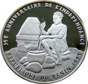 1000 Francs CFA (35 Years of Independence) – reverse