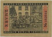 2 Mark (Straßenbahn Berlin; Issue 8 - Erste Benzindroschke) – reverse