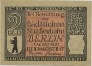 2 Mark (Straßenbahn Berlin; Issue 9 - Hochbahn über dem Landwehrkanal) – obverse