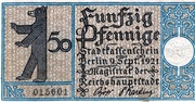 50 Pfennig (Berlin; Districts Series - Issue 15: Treptow) -  obverse