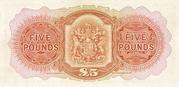 5 Pounds (George VI; brown) – reverse